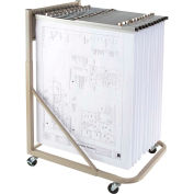 Brookside Design Rolling Blueprint Stand Bundle W/Dozen Pivot Hangers & Dozen 24
