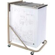 Brookside Design Rolling Blueprint Stand Bundle W/Dozen Pivot Hangers & Dozen 42