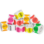 """2"""" Circle Easy Order Months Of The Year Packs 500 Labels Per Roll 12 Rolls"""
