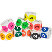 """2"""" Dia. Round Numbered 1-10 Easy Order Labels, 10 Rolls of 500"""