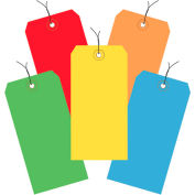 "Pre-Wired Shipping Tags, 6-1/4"" x 3-1/8"" Assorted Colors - 1000 Pack"