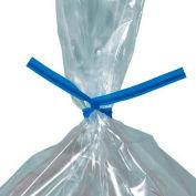"""Plastic Twist Ties, 7""""L x 5/32""""W, Bleu, 2000 Pack"""