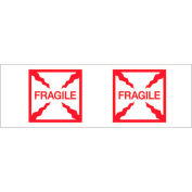 "Tape Logic® Printed Carton Sealing Tape ""Fragile (Box)"" 2"" x 55 Yds. 2.2 Mil Red/White - Pkg Qty 6"