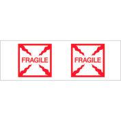 Logic® ruban imprimé Carton Ruban d'étanchéité «Fragile (Box)» 2» x 55 vgs. 2,2 mil rouge/blanc, qté par paquet : 6