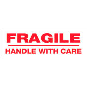 "Tape Logic® Printed Carton Sealing Tape ""Fragile Handle With Care"" 3"" x 110 Yds. Red/White - Pkg Qty 6"
