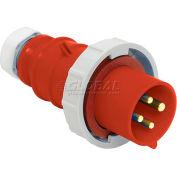 Bryant 460P7W Plug, 3 Pole, 4 Wire, 60A, 3ph 480V AC, Red