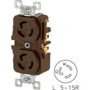 Bryant 4700DR TECHSPEC® Duplex Receptacle, L5-15, 15A, 125V, Brown