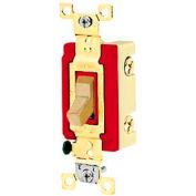 Interrupteur à bascule de qualité industrielle Bryant 4901BI, unipolaire, 20 a, 120/277V AC, Ivoire