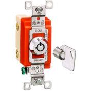 Interrupteur à clé Bryant 4901RKL baril, unipolaire, 20 a, 120/277V AC, verrouillage rotatif