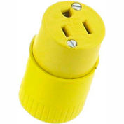 Bryant 5969BY TECHSPEC® Straight Blade Connector, 15A, 125V, Yellow, 2-Pole, 3-Wire