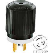 Bryant 71020NP TECHSPEC® Plug, L10-20, 20A, 125/250V, Black/White