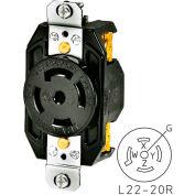 Bryant 72220FR TECHSPEC® Receptacle, L22-20, 20A, 3ph 277/480V AC, Black