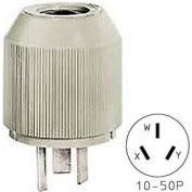 Bryant 7513NP Straight Blade Plug, 50A, 125/250V, Gray, NEMA 10-50