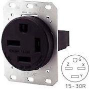 Bryant 8430FR Single Flush Receptacle, 30A, 3ph 250V, Black