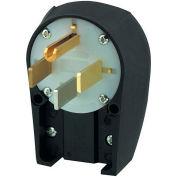 Bryant 9452ANPB Angled Straight Blade Plug, 50A, 125/250V, Black/White