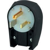 Bryant 9650ANPB Angled Straight Blade Plug, 50A, 250V, Black/White