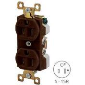 Bryant BRY5262 TECHSPEC® Industrial Grade Duplex Receptacle, 15A, 125V, Brown