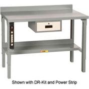 Little Giant® acier carré bord Workbench avec Riser étagère, hauteur fixe, 28 x 60