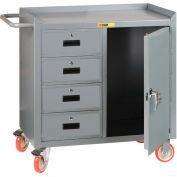 "Little Giant MC1D2436-4DRTL Mobile Bench Cabinet, 4 Drawers, 1 Door - 36""W x 24""D"