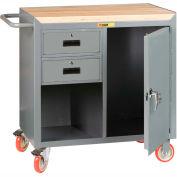 "Little Giant MCJ1D2436-2DRTL  36"" W Mobile Bench Cabinet, 2 Drawers, 1 Door, Butcher Block Top"