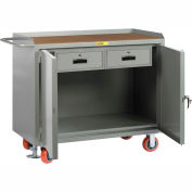 """Little Giant MH2D-2448-2DRFL  48"""" W Mobile Bench Cabinets, Double Storage Drawers 2 Doors"""