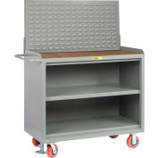 "Little Giant MH3-2448-FL-LP 48""W x 24""D Mobile Service Bench, Center Shelf, 1/4"" Hardboard Top"