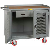 """Little Giant MHP2D2448-2DRFL  48"""" W Mobile Bench Cabinets, Double Storage Drawers, 2 Doors"""