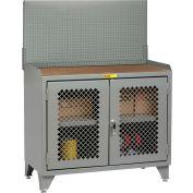 Petit banc géant armoire MHP3LL-2D2448PB - 48 x 24, en panneau rigide Top, portes de Clearview, panneau perforé