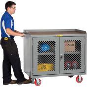 "Little Giant MJP3-2D-2448-FL  48"" W Mobile Bench Cabinets, Center Shelf, 2 Clear view Doors"