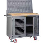 "Little Giant MJP3-2D-FL-LP 48""W x 24""D Mobile Service Bench, Center Shelf, Butcher Block Top"