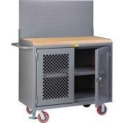 """Little Giant MJP3-2D-FL-PB 48""""W x 24""""D Mobile Workbench, Center Shelf, Butcher Block Top"""