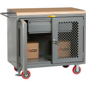 """Little Giant MMP2D-2448-HDFL  48"""" W Mobile Bench Cabinets, Heavy-Duty Drawer, 2 Clear View Doors"""