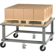 Little Giant® Ergonomic Adj. Height Pallet Stand PDSE4048 - Solid Deck 40 x 48 with Floor Locks