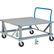 Little Giant® Ergonomic Adj. Height Pallet Stand with Handle PDSEH42486PH2FL - Solid Deck 48x42