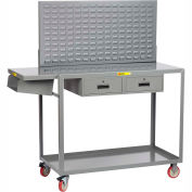 Little Giant Work-Height Mobile Workstation QC2436-TL2DRLP - Writing Shelf, Drawers, Louvered, 36x24