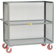 "3 Sided Bulk Truck, 2 Shelves, 1-1/2"" Retaining Lips, 3600 lbs., Mesh Sides, 24"" x 60"" Deck"