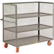"3 Sided Bulk Truck, 3 Shelves, 1-1/2"" Retaining Lips, 3600 lbs., Mesh Sides, 24"" x 48"" Deck"