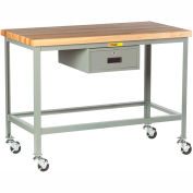 """Little Giant WT-2424-3R-DR Mobile Butcher Block Top Tables, 24"""" x 24"""", Drawer"""