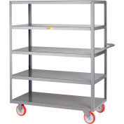 Little Giant® Welded 5-Shelf Service Cart, Flush Shelves, 1200 lbs., 18x32, Poly Wheels