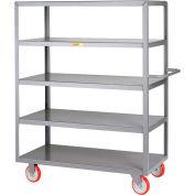 Little Giant® Welded 5-Shelf Service Cart, Flush Shelves, 1200 lbs., 24x48, Poly Wheels