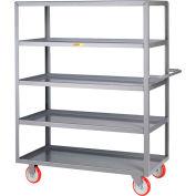 Little Giant® Welded 5-Shelf Service Cart, Lipped Shelves, 1200 lbs., 18x32, Poly Wheels