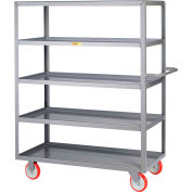 Little Giant® Welded 5-Shelf Service Cart, Lipped Shelves, 1200 lbs., 24x48, Poly Wheels