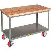 Little Giant® HD Butcher Block Top Mobile Table, 2 Shelf, 3000 lb Cap., 72x30x34, Wheel Brakes