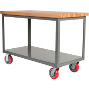 Little Giant® HD Butcher Block Top Mobile Table, 2 Shelf, 3000 lb Cap., 72x30x34, Poly Wheels
