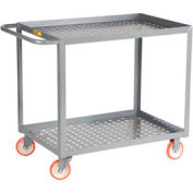 "Little Giant® Perforated Deck Service Cart, 2 Tray Shelves, 24""Wx 48""L, 1200 Lbs. Cap."