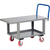 Little Giant® Work Height Platform Truck RNB2-2448-6PYAH with Lower Shelf 24 x 48 Adj. Height