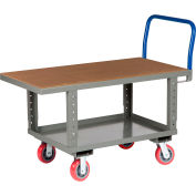 Little Giant® Work Height Platform Truck RNH2-3048-6PYAH with Lower Shelf 30 x 48 Adj. Height