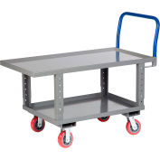 Little Giant® Work Height Platform Truck RNL2-2448-6PYAH with Lower Shelf 24 x 48 Adj. Height