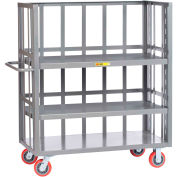 Little Giant® 3-Sided Bulk Truck, Slat Sides, 2 Adj. Shelves, 3600 lbs Cap., 30x48, Poly Wheels