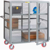 "Little Giant® HD Job Site Security Box Truck w/Handle, 2 Center Shelves, 24x48, 6"" Poly Wheels"